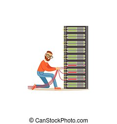 Network engineer administrator working in data center, server rack networking service vector illustration