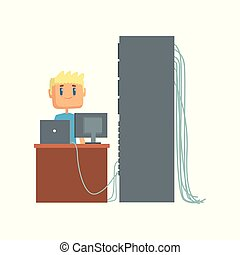 Network engineer administrator working in data center using computer connected to server rack, server maintenance support cartoon vector illustration