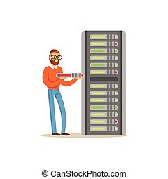 Network engineer administrator working with hardware equipment of data center, server maintenance support vector illustration
