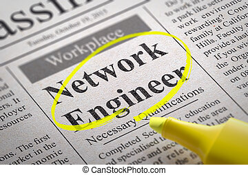 Network Engineer Vacancy in Newspaper. Job Seeking Concept.