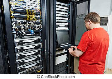 network engineering - network engineer working in server...