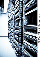 Network equipments - A shot of servers and hardwares in an...