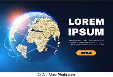 network., explorer, univers, global, connection., space., business, planète, réaliste, vecteur, illustration, mondiale, internet, la terre, air, transportation.