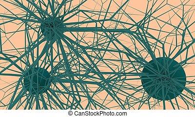 network., geleistet, illustration., neuronal, 3d