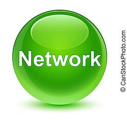 Network glassy green round button