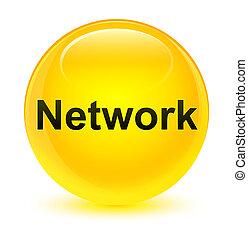 Network glassy yellow round button