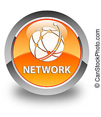 Network (global network icon) glossy orange round button