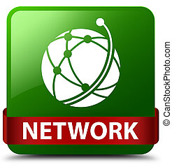 Network (global network icon) green square button red ribbon in middle