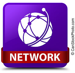Network (global network icon) purple square button red ribbon in middle