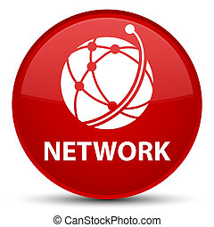 Network (global network icon) special red round button