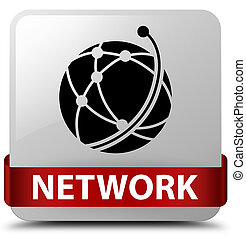 Network (global network icon) white square button red ribbon in middle