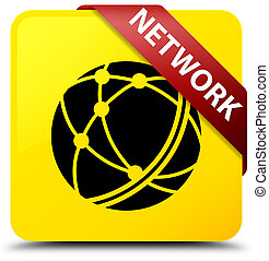 Network (global network icon) yellow square button red ribbon in corner