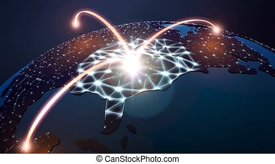 Network Globe - HD 1080p 16:9 stockvideo of light arches...