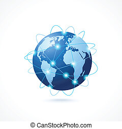 Network globe icon - Network globe sphere earth map icon...