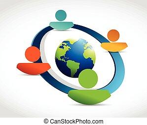 network., globo, diversità, persone