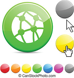 Network glossy button.