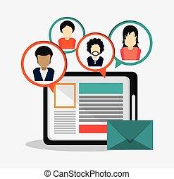 network., grafische tabel, mensen, vector, avatar, sociaal, design.
