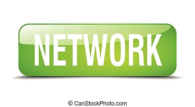 network green square 3d realistic isolated web button
