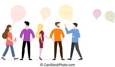 network., groupe, gens, social, bavarder, communicate.