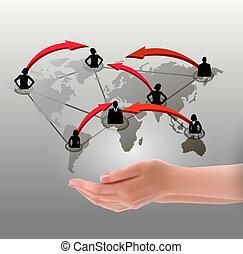 network., hände, abbildung, vektor, besitz, sozial