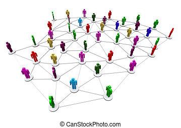 network., handlowy, ludzki, towarzyski
