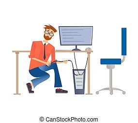 network., herstelling, computers., vector, dienst, illustratie, of, informatietechnologie, vrijstaand, achtergrond., computer, verbinden, witte , bril, herstelling, man