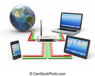network., hogar, concepto, sincronización, dispositivos