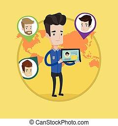 network., homem, segurando, tabuleta, social