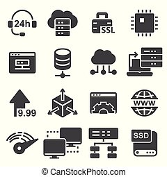 Network, Hosting and Servers Icons Set