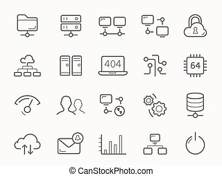Network Hosting and Servers Line Icons.