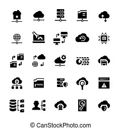 Network hosting icon set in flat style.