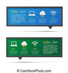 Network icon and 3D bubble talk blackboard.
