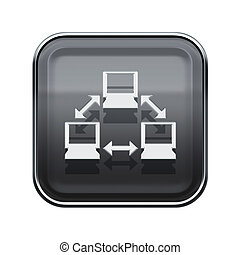 Network icon glossy grey, isolated on white background.