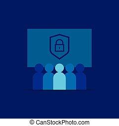 network., icon., gruppo, squadra, sociale, work., vettore, scudo, segno., intimità, persone., concetto, sicurezza, affari, linea, illustration., concept., protezione, vpn, o, comunità, internet, direzione, folla, dati