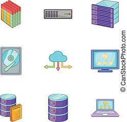 Network icons set, cartoon style