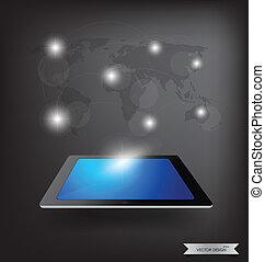 network., illustration., tabuleta, modernos, vetorial, magra, social, tecnologia