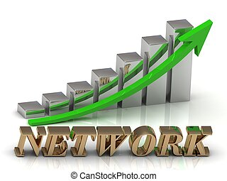 NETWORK- inscription of gold letters and Graphic growth