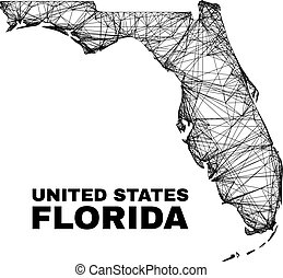 carcass irregular mesh Florida State map. Abstract lines are combined into Florida State map. Linear carcass flat net in vector format.