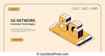 network., isométrique, smartphone, génération, grand, symbole, -, mobile, concept, 5g, cinquième