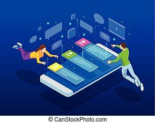 network., isometric, folk, medier, hen, posts., al, illustration, efterlader, vektor, forbinde, comments, sociale, world., holder af