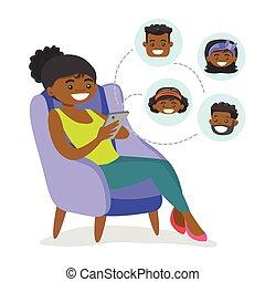 network., kvinde, sociale, surfing, african-american