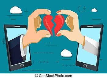 network., kvinna, heart., roman, social, kärlek, hålla, röd, man