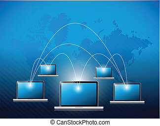 network laptop connection illustration design
