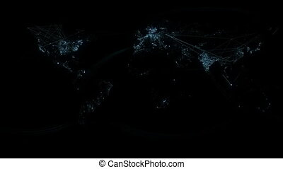 Network Lines Lighting Up World Map - A view of earth at...