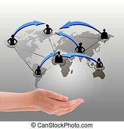 network., mani, illustrazione, vettore, presa a terra, sociale