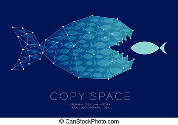 Network Marketing Online set Teamwork from shoal or school of small fish eat Big Fish concept idea illustration isolated on dark blue background, with copy space