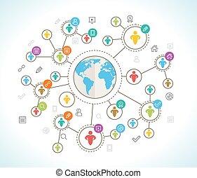 network., media, isometric, 3d, towarzyski