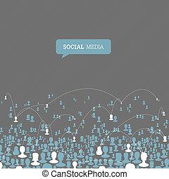 network., medier, vektor, eps10, sociale
