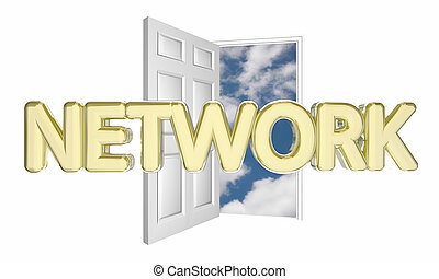Network Meet New People Open Door Join Group 3d Illustration