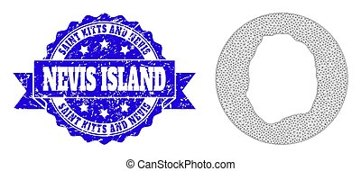 Network Mesh Circle Hole Map of Nevis Island with Distress Stamp Seal